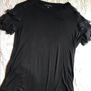 Black lace cotton tee